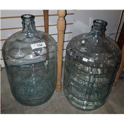 TWO VINTAGE GLASS CARBOYS