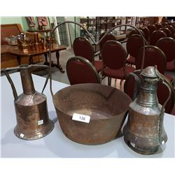 THREE PC LOT-METAL POT & 2 COPPER COFFEE POTS
