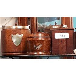 THREE PC LOT-WOOD BISCUIT BARREL, COFFEE & TEA CANISTERS