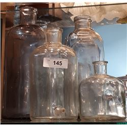 FOUR PCS ANTIQUE GLASS APOTHECARY JARS