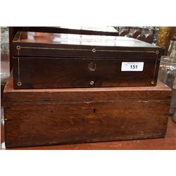 VINTAGE WOODEN BOX & VINTAGE WRITING BOX