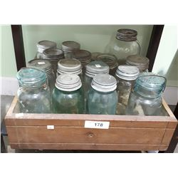 VINTAGE WOOD CRATE W/GREEN & CLEAR ANTIQUE CANNING JARS