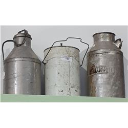 THREE PC LOT-2 VINTAGE CREAM CANS & ONE BUCKET