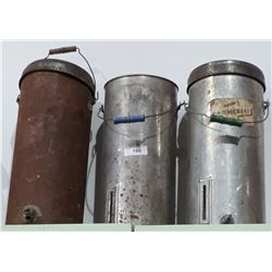 THREE VINTAGE CREAM/BUTTER FAT CANS