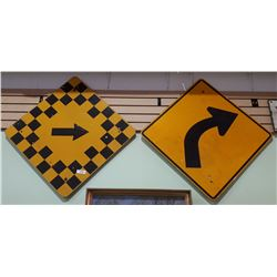 TWO ORIGINAL ROAD SIGNS