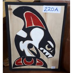 NATIVE CARVED KILLER WHALE PLAQUE SIGNED
