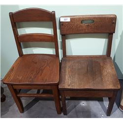 TWO OAK CHILDREN'S CHAIRS