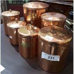 SIX COPPER CANNISTERS