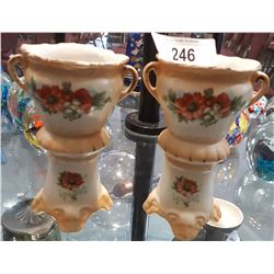 PAIR HAND PAINTED VICTORIAN PORCELAIN VASES