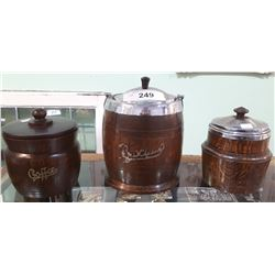 THREE PC LOT-VINTAGE WOOD BISCUIT BARREL & TEA/COFFEE CANNISTER