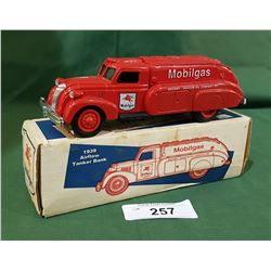 MOBIL GAS DIE CAST 1939 AIRFLOW TANKER COIN BANK W/BOX