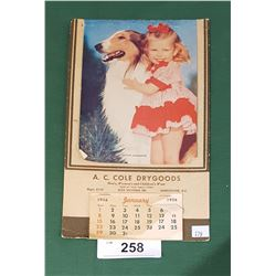 1956 CALENDAR COLE DRY GOODS OF VANCOUVER, BC