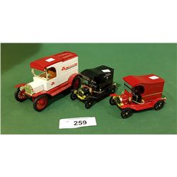 MASSEY FERGUSON DIE CAST COIN BANK & POLICE/FIRE DIE CAST TRUCKS