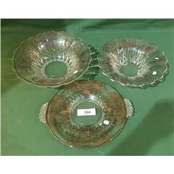 LOT OF 3 STERLING SILVER OVERLAY BOWLS
