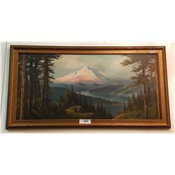 OIL ON BOARD OF MOUNTAIN