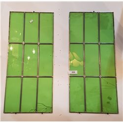 PAIR VINTAGE GREEN LEADED GLASS PANELS