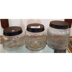 VINTAGE THREE PC GLASS CANNISTER SET