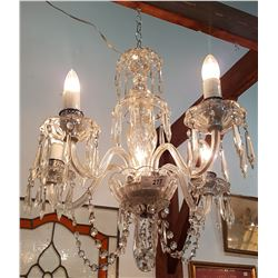 VINTAGE 5 LIGHT CRYSTAL DROP CHANDELIER