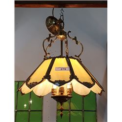 VINTAGE SLAG GLASS CHANDELIER
