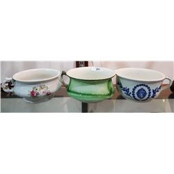 THREE VINTAGE CHAMBER POTS
