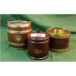 VINTAGE BISCUIT BARREL & 2 TEA CADDYS
