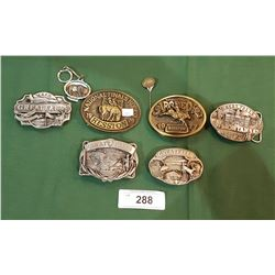 COLLECTIBLE BELT BUCKLES, PIN & KEYCHAIN
