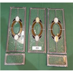 SET OF 3 SMALL STAINED GLASS WINDOWS