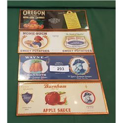 FOUR FRAMED FRUIT LABELS