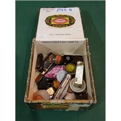 VINTAGE CIGAR BOX W/WORLD COINS, KNIVES, LIGHTERS, MARBLES ETC