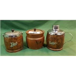 LOT OF 3 VINTAGE WOOD TEA/COFFEE CANNISTERS