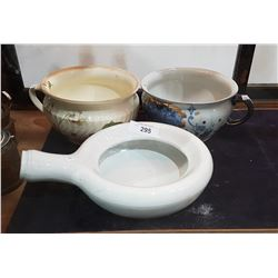 LOT OF 3 VINTAGE CHAMBER POTS