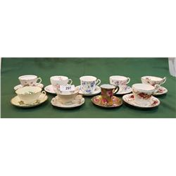 NINE ENGLISH BONE CHINA TEACUPS/SAUCERS