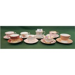 EIGHT ENGLISH BONE CHINA TEACUPS/SAUCERS
