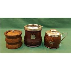 VINTAGE WOOD BISCUIT BARREL & 2 WOOD TEA CADDY'S