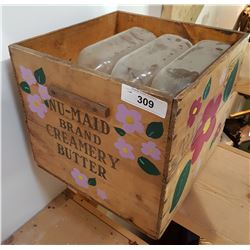 VINTAGE BUTTER BOX W/MILK BOTTLES