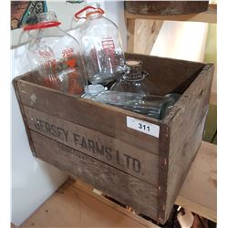 VINTAGE JERSEY FARMS MILK CRATE W/MILK BOTTLES & JARS