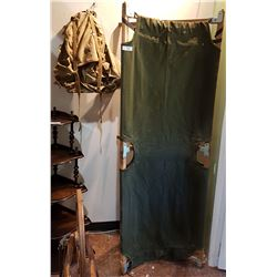 VINTAGE ARMY BACKPACK & FOLDING ARMY COT