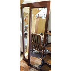 TWO BEVELLED GLASS WALL MIRRORS