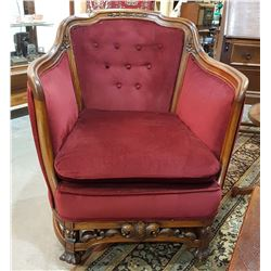 PROFESSIONALLY REFINISHED/REUPHOLSTERED PARLOUR CHAIR