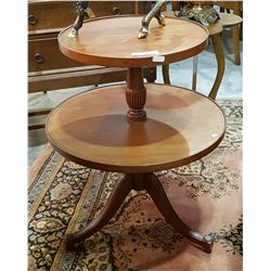TWO TIER ROUND MAHOGANY OCCASIONAL TABLE