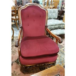 PROFESSIONALLY REFINISHED/REUPHOLSTERED OPEN ARM CHAIR