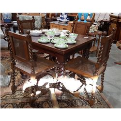 5 PC ANTIQUE ANTIQUE BARLEY TWIST DRAW LEAF DINING TABLE & CHAIRS