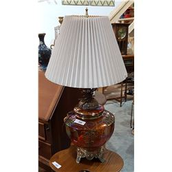 LARGE CARNIVAL GLASS TABLE LAMP
