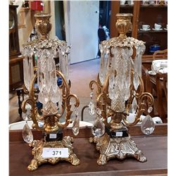 PAIR CRYSTAL DROP AND ORNATE BRASS CANDLE HOLDERS