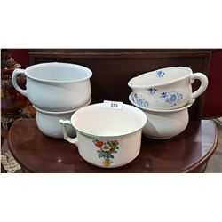 LOT OF 5 VINTAGE CHAMBER POTS