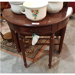 MAHOGANY DEMI LUNE HALL TABLE W/DRAWER
