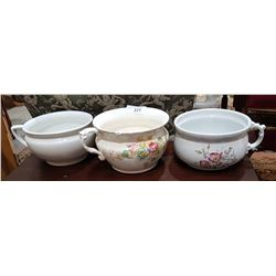 LOT OF 3 CHAMBER POTS
