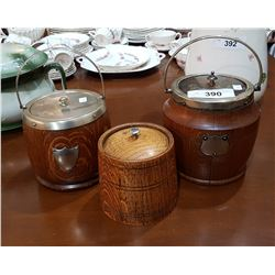 TWO VINTAGE WOOD BISCUIT BARRELS & WOOD TEA CADDY