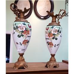 PAIR VICTORIAN PORCELAIN PITCHERS W/ORNATE BRASS