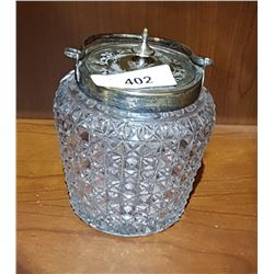 VINTAGE GLASS BISCUIT BARREL